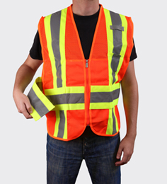 orange safety vest with hi visibility reflective stripes
